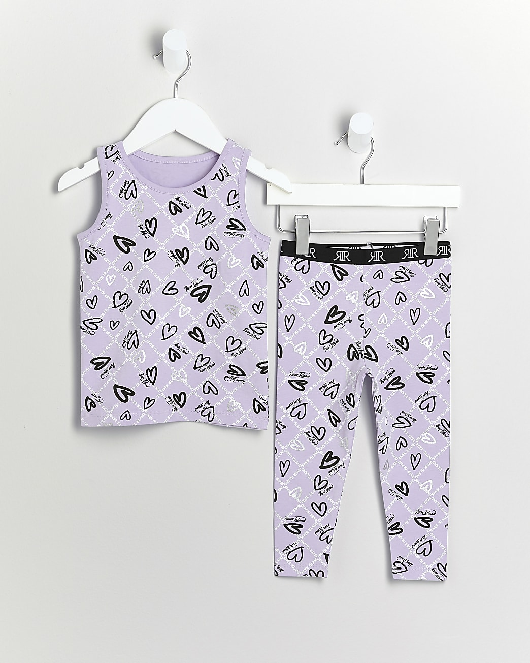 Mini girls purple RI heart vest and leggings