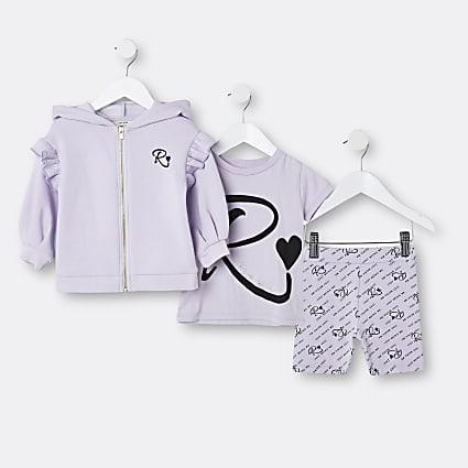 Mini girls purple RI hoodie 3 piece outfit