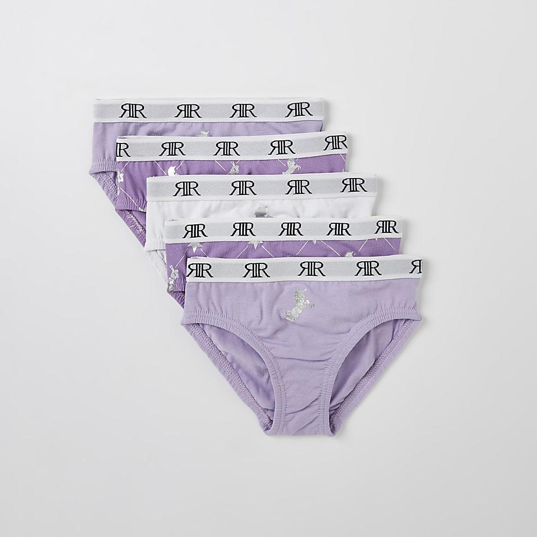 Mini girls purple RIR unicorn briefs 5 pack