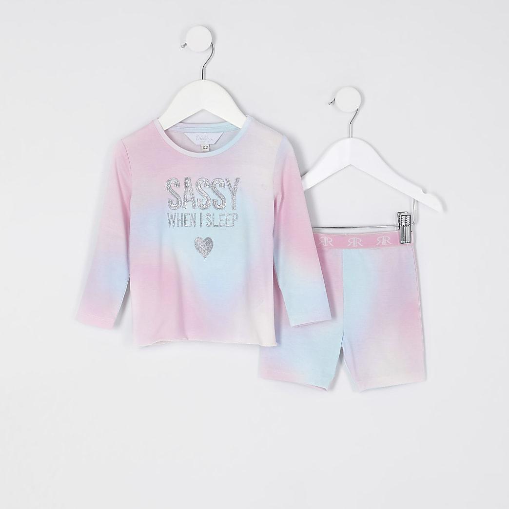 Mini girls purple 'Sassy' tie dye pyjamas