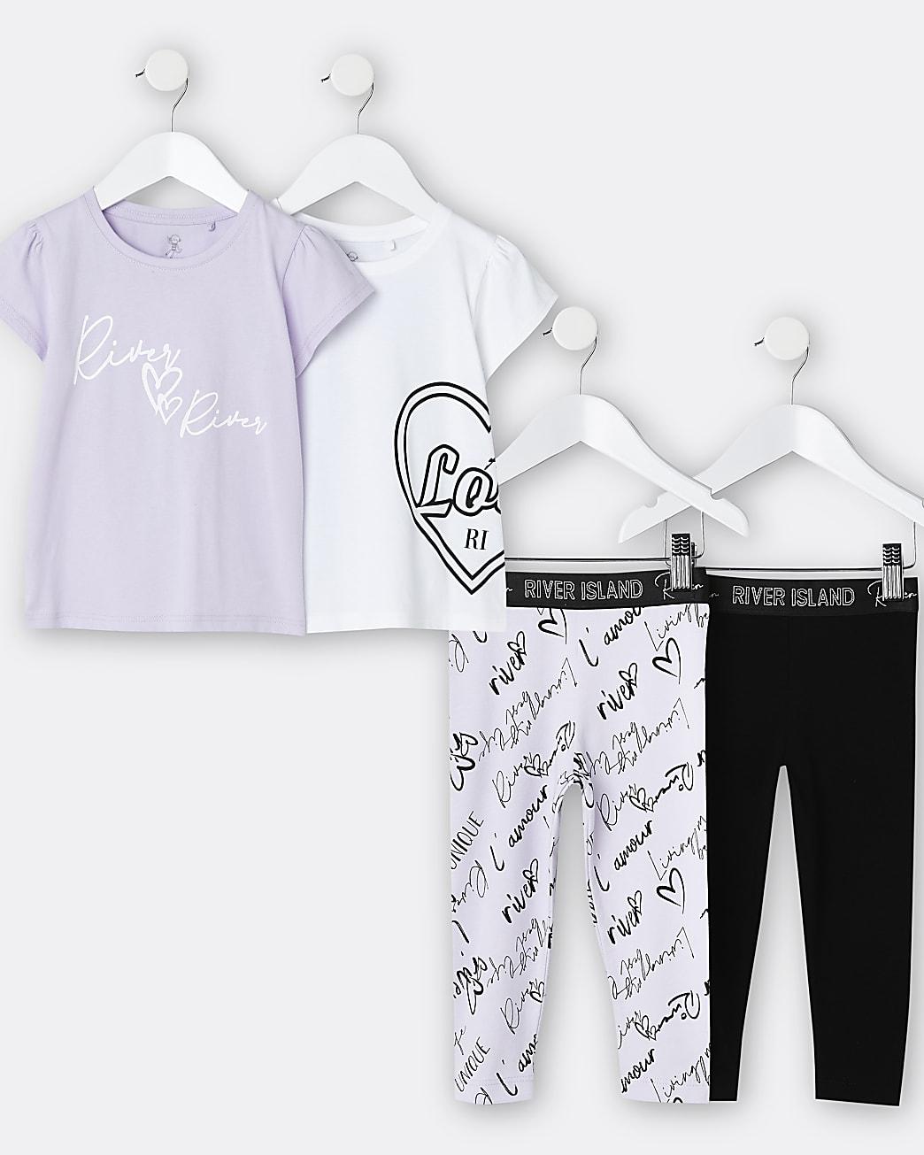 Mini girls purple t-shirt and leggings 2 pack