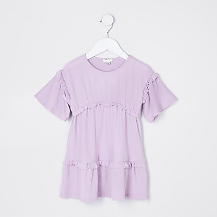 Mini girls purple t-shirt dress