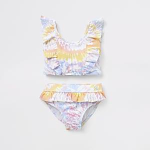 Mini – Lila Tankini-Set im Batik-Design mit Rüschen für Mädchen