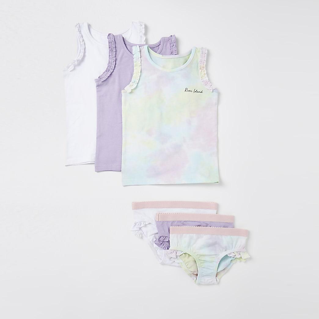 Mini girls purple tie dye vest and briefs set