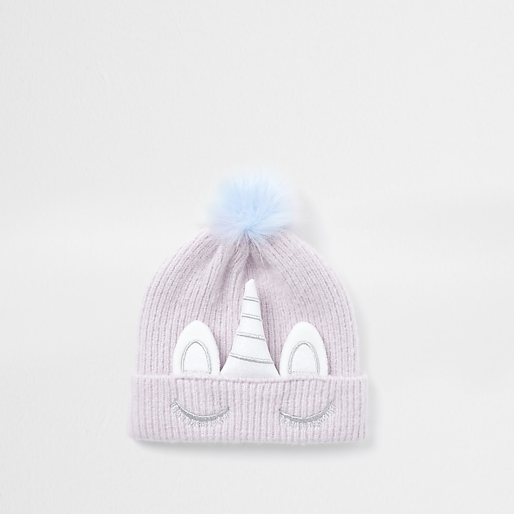 Mini girls purple unicorn beanie hat