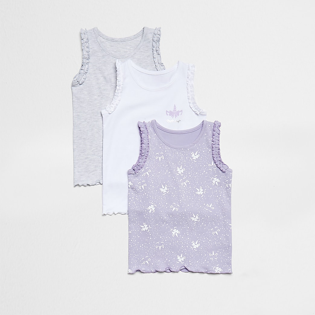 Mini girls purple unicorn print vests 3 pack