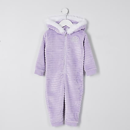 Mini girls purple 'Unique' cosy onesie