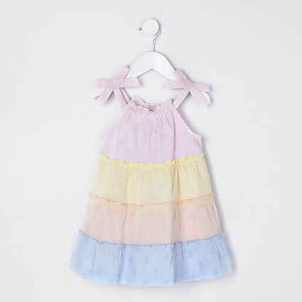 Mini girls rainbow colour block dress
