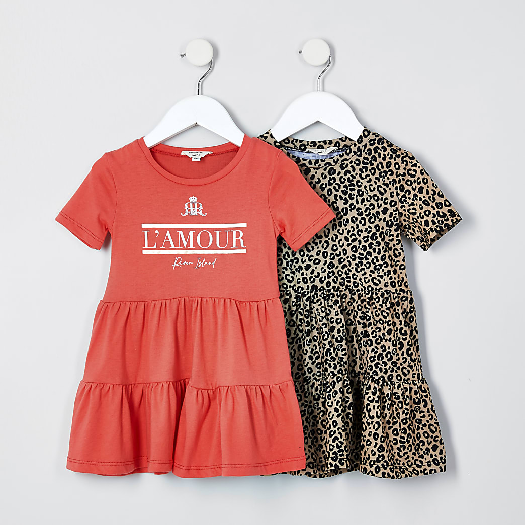 Mini girls red 2 pack tiered smock dress