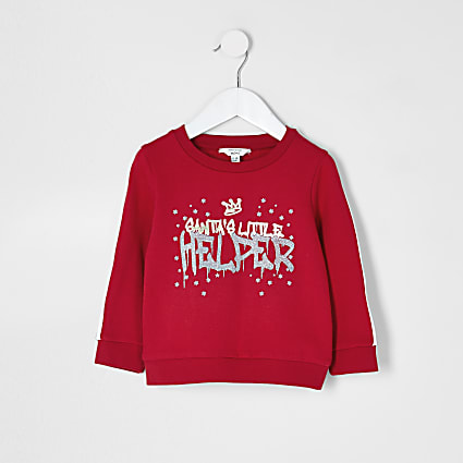 Mini girls red chest print sweatshirt