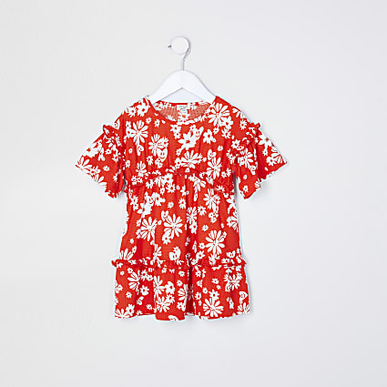 Mini girls red ditsy fochette t-shirt dress
