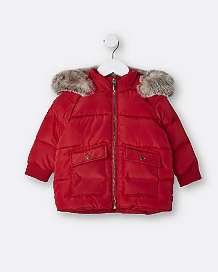 Mini girls red faux fur hood puffer coat