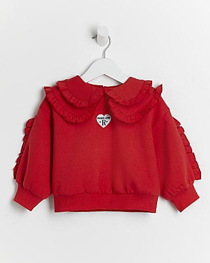Mini girls red frill collar sweatshirt