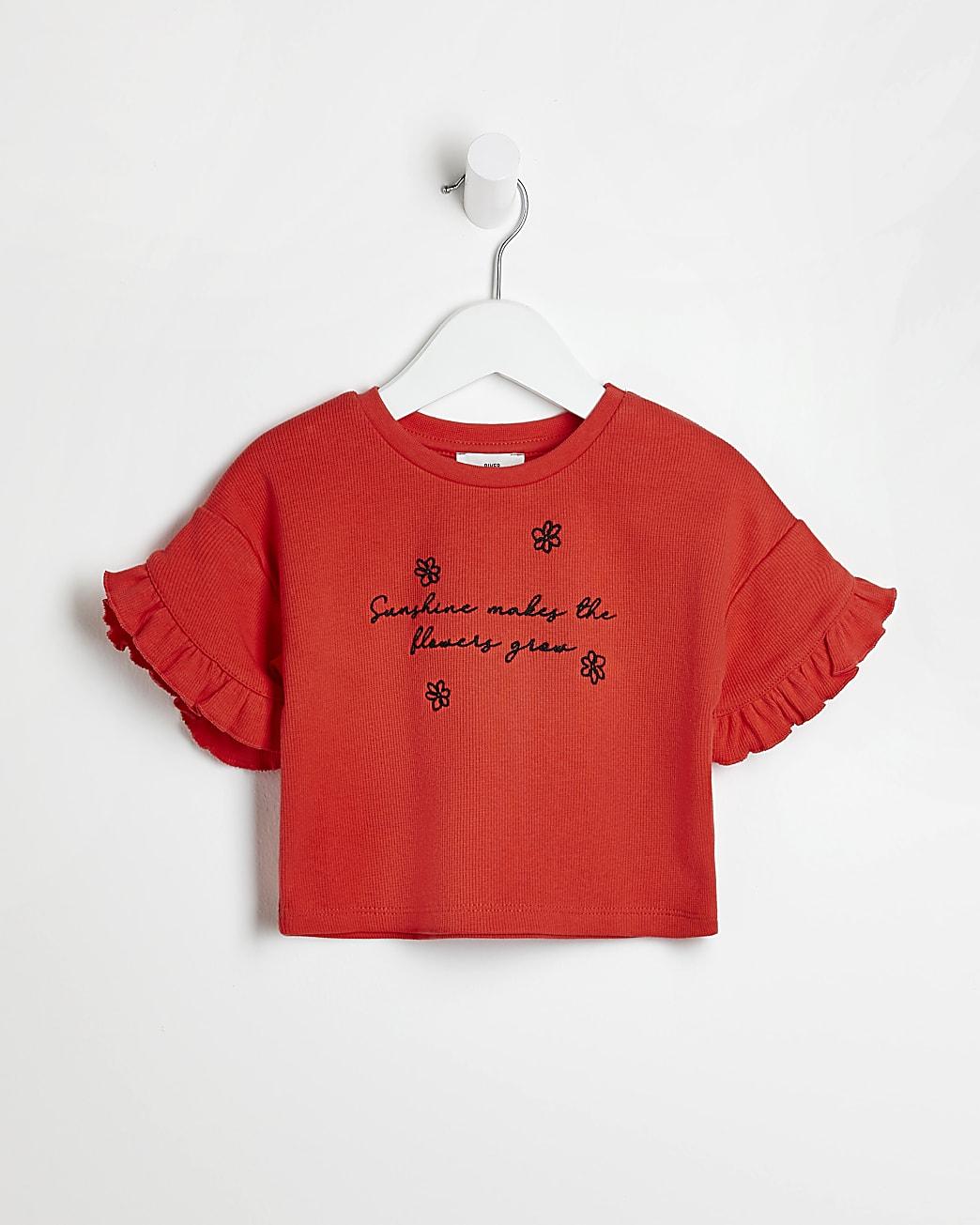 Mini girls red frill sleeve t-shirt