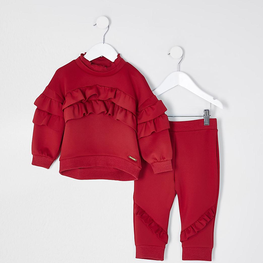 Mini girls red frill sweatshirt outfit