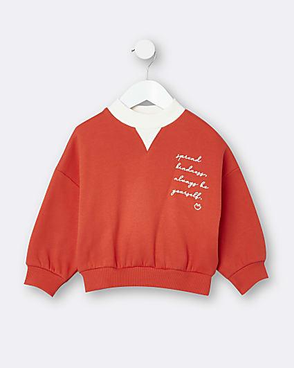 Mini girls red heart back print sweatshirt