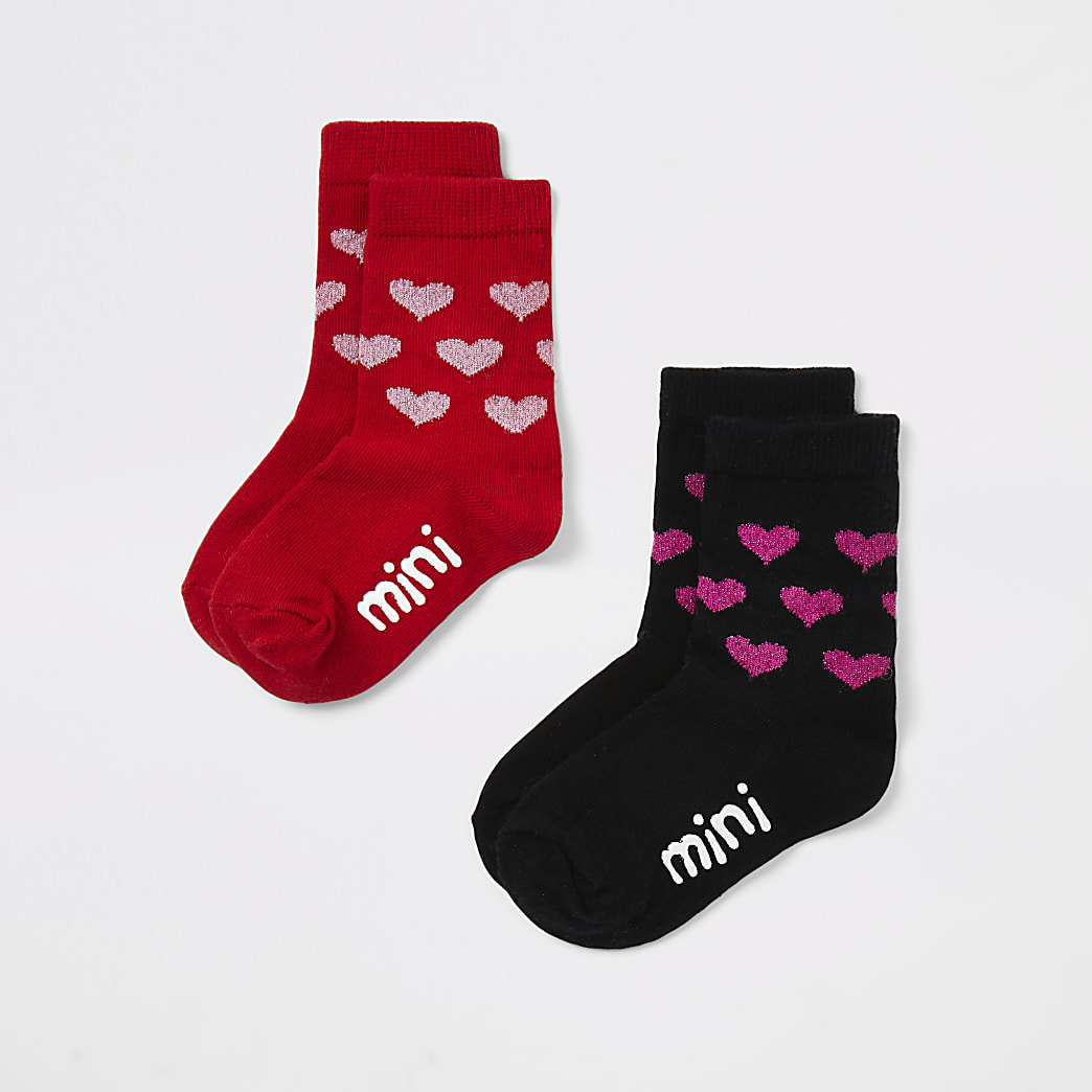Mini - Set van 2 paar rode en zwarte sokken met hartenprint voor meisjes