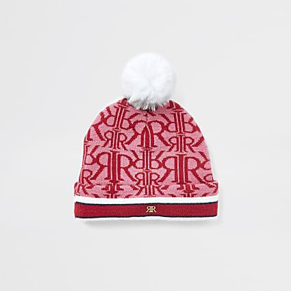 Mini girls red monogram beanie hat