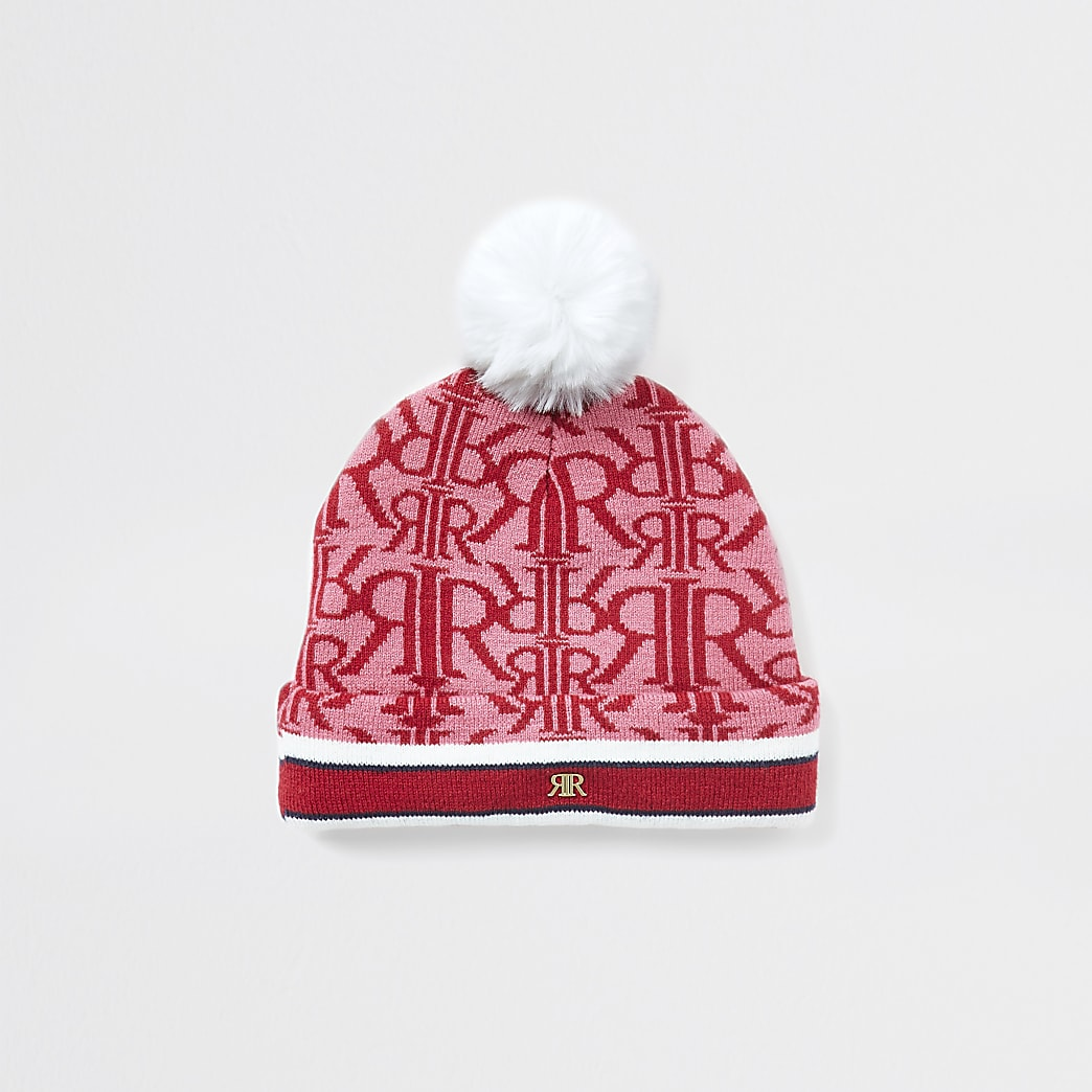 Mini girls red monogram beanie hat