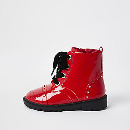 Mini girls red patent brogue chunky boots