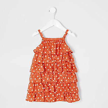 Mini girls red polka dot frill dress