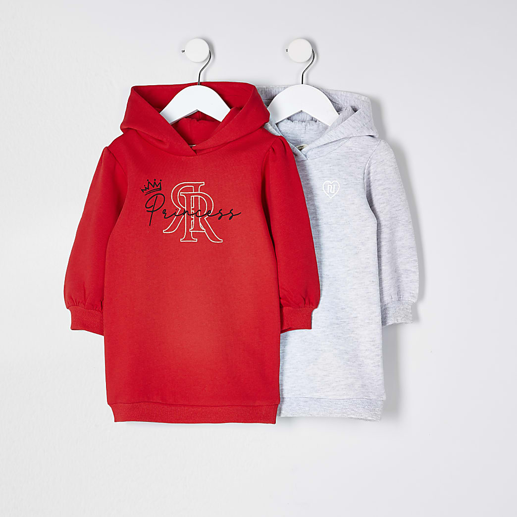 Mini girls red 'Princess' sweat dress 2 pack
