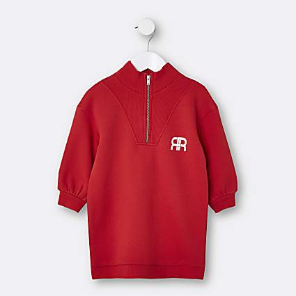 Mini girls red RR funnel neck sweat dress