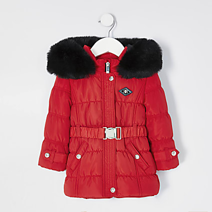 Mini girls red ruched puffer coat