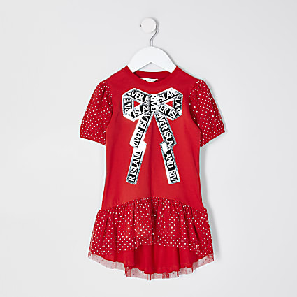 Mini girls red sequin bow t-shirt dress
