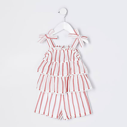 Mini girls red stripe linen playsuit