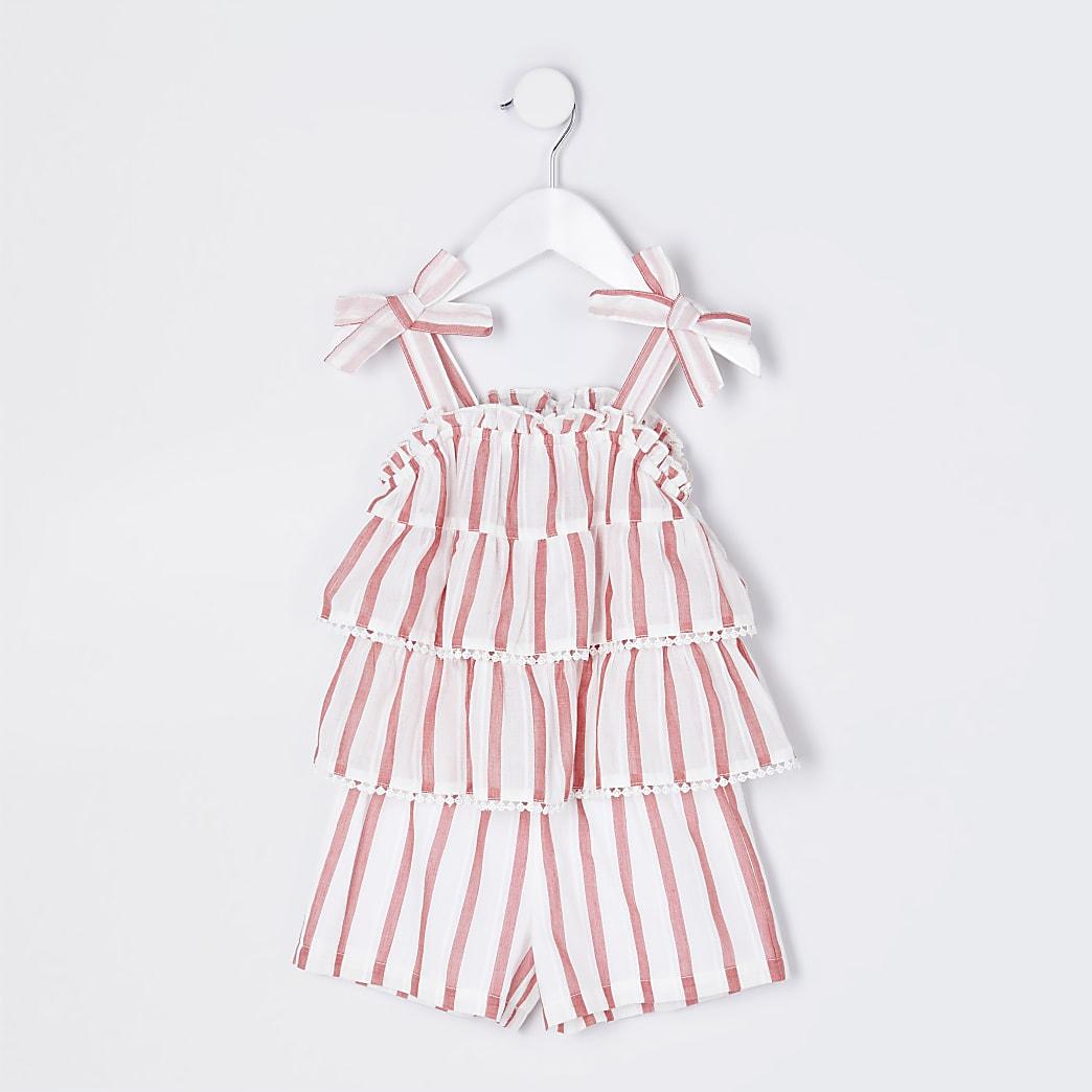 Mini girls red stripe linen playsuit