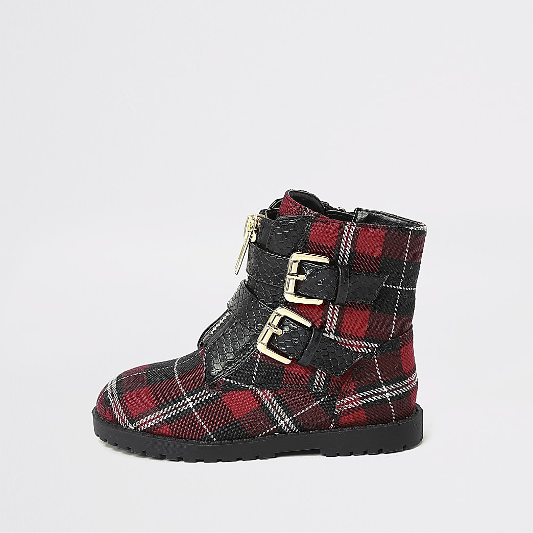 Mini girls red tartan buckle biker boots