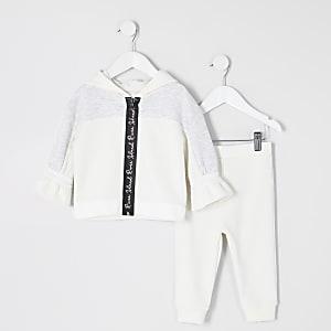 Mini - RI Active - Crèmekleurige hoodie outfit met rits voor meisjes