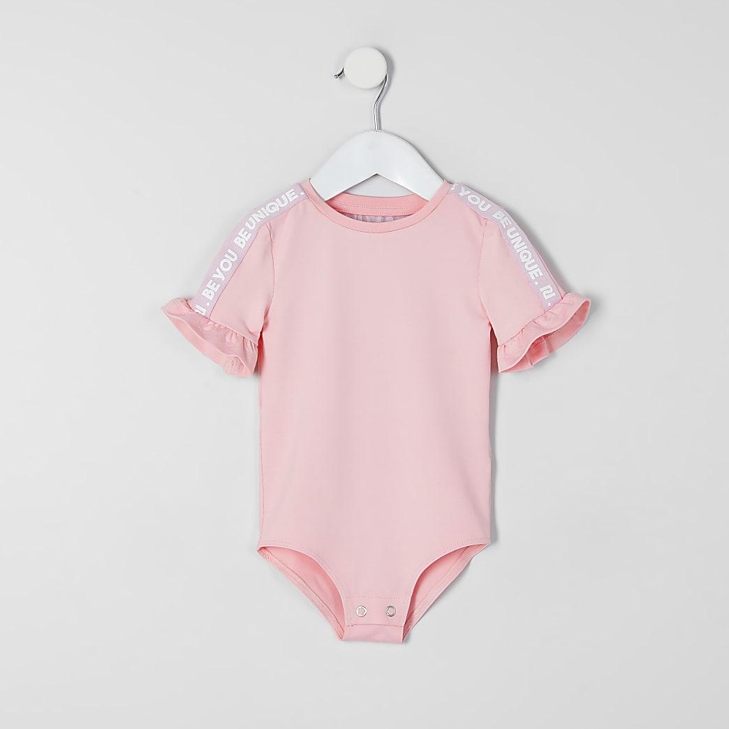 Mini girls RI Active pink tape bodysuit