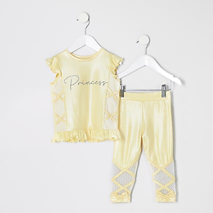 Mini girls RI Active yellow T-shirt outfit