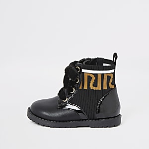 Mini girls RI ribbed lace-up boots