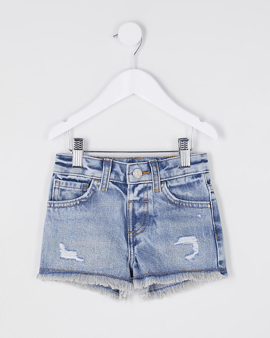 Mini girls ripped mom denim shorts