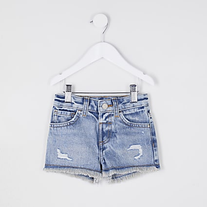 Mini girls ripped mom denim shorts