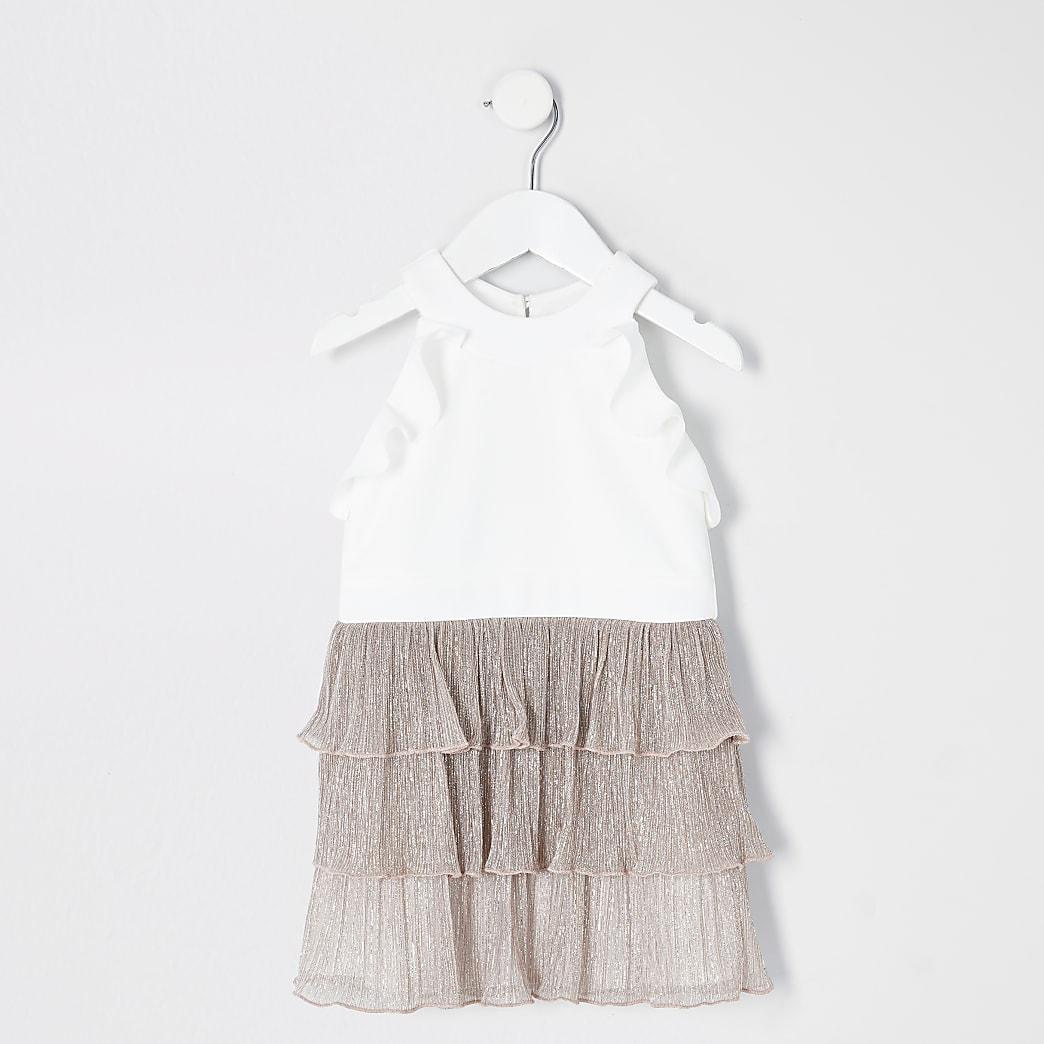 Mini - Roségoudkleurige jurk van plissé met ruches voor meisjes