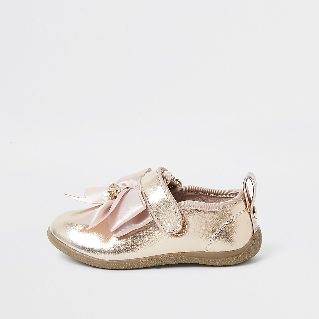 Mini girls rose gold bow shoes