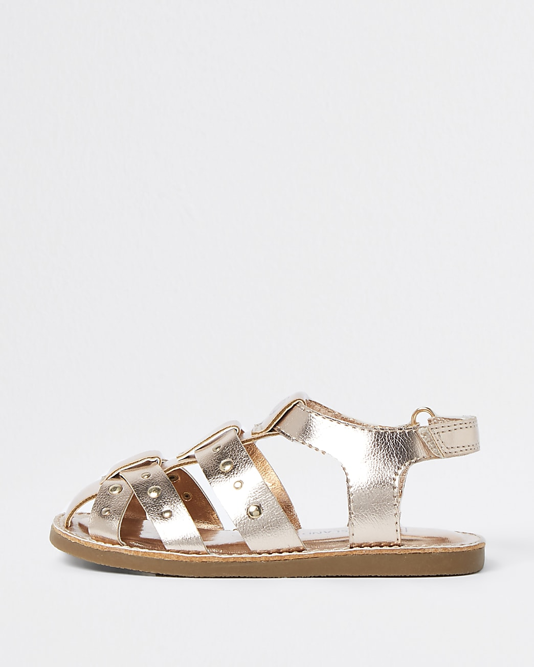 Mini girls rose gold fisherman strap sandals