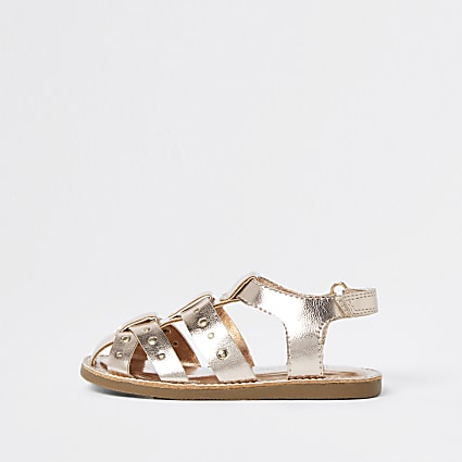 Mini girls rose gold fisherman strap sandals