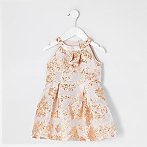 Robe en jacquard or rose Mini fille