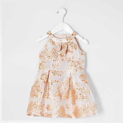 Mini girls rose gold jacquard dress