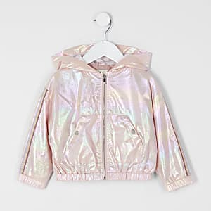 Mini girls rose gold metallic hooded jacket