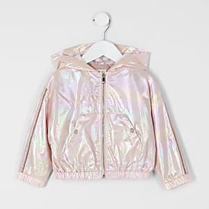 Veste à capuche métallisée doré rose Mini fille