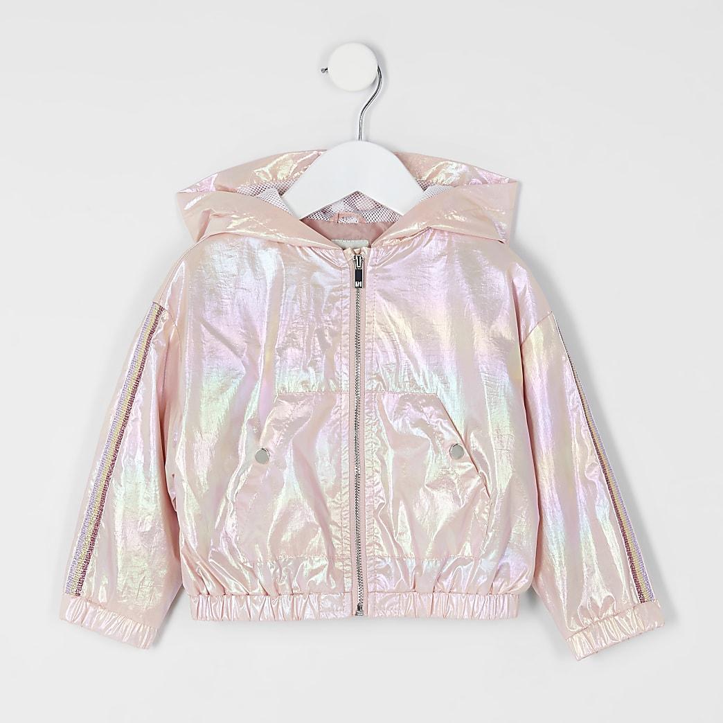 Mini girls rose gold metallic hooded jacket