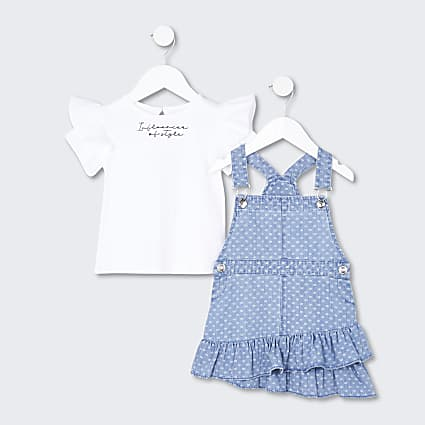 Mini girls RR pinafore denim dress set