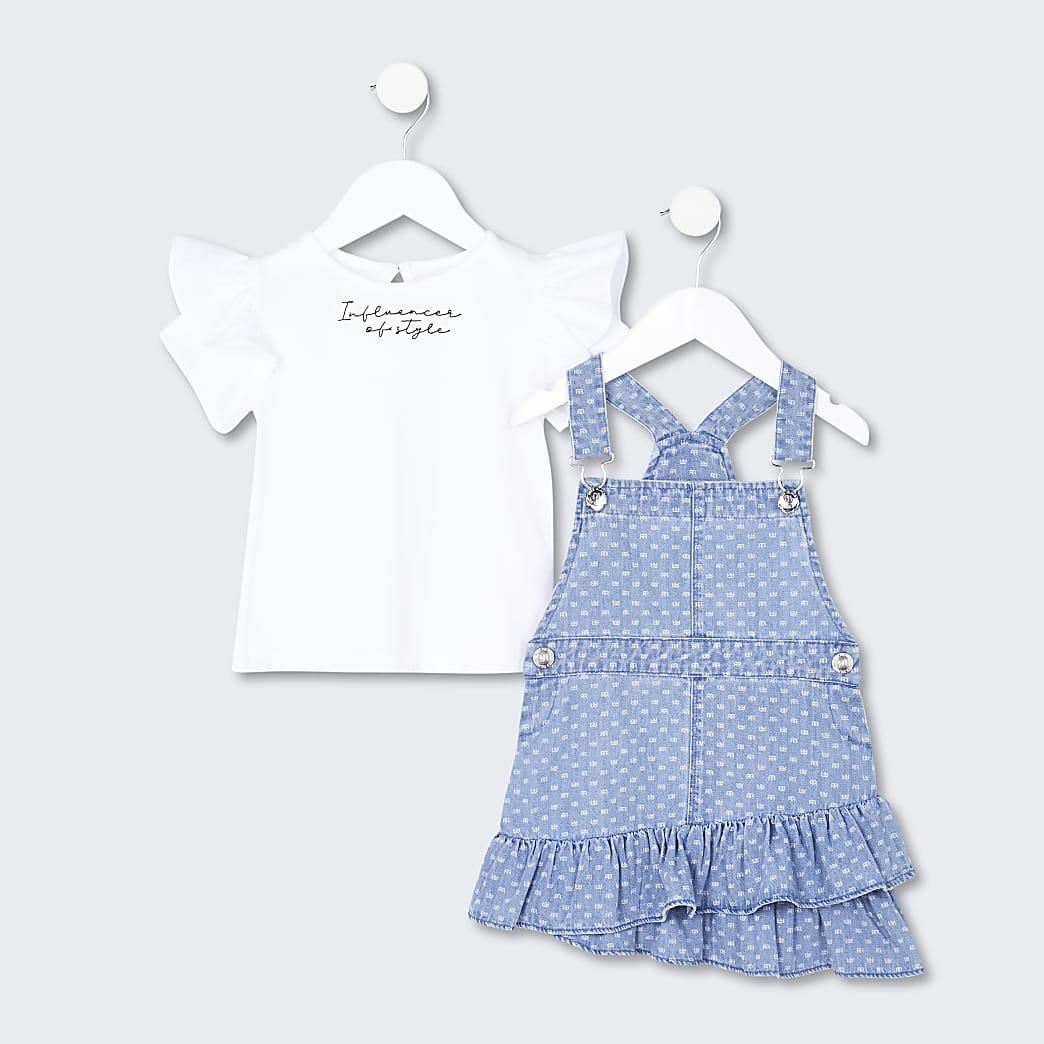 Mini girls RR pinafore denim dress set