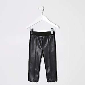 Mini girls scallop hem coated front leggings